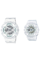 Casio G-Shock & Baby-G Men's & Women's GA-110TP-7A & BA-110TP-7A Couple Resin Strap Watch White