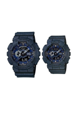 Casio G-Shock & Baby-G Men's Women's GA-110DC-1A & BA-110DC-2A1 Couple Resin Strap Watch Dark Blue Denim