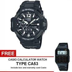 Casio G-Shock Gravitymaster Series Jam Tangan Pria - Hitam - Strap Karet - GA-1100-1ADR + Gratis Casio Calculator Watch CA53 (One Size)