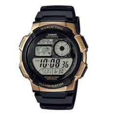 CASIO Illuminator AE-1000W-1A3VDF - Jam Tangan Pria - Tali Karet - Digital Movement - Black Gold