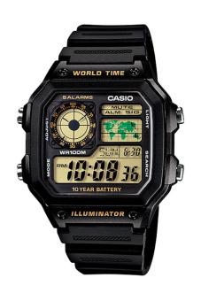 Casio Digital AE-1200WH-1BV - Jam Tangan Pria - Black - Resin Band