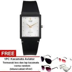 Casio Unisex Watch Jam Tangan Unisex - Hitam - Strap Karet - MQ-38-7ADF + 1pc Kacamata Aviator Dengan Warna Random Termasuk Kotak Kacamata Dan Lap Kacamata (Black)
