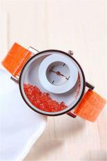 Casual Fashion Double Dial Rhinestone Quartz Women's Wristwatch LC193 Orange
