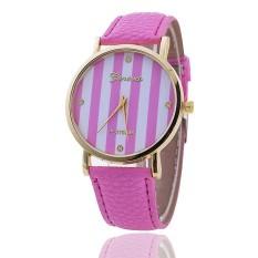 Casual GENEVA Leather Strap Watches Women Stripe Dress Quartz Wristwatch (Pink) (Intl)
