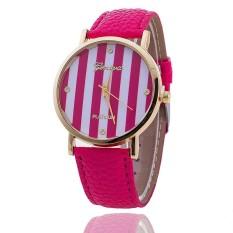 Casual GENEVA Leather Strap Watches Women Stripe Dress Quartz Wristwatch (Rose Red) (Intl)