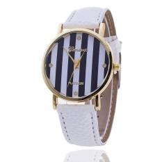 Casual GENEVA Leather Strap Watches Women Stripe Dress Quartz Wristwatch (White) (Intl)