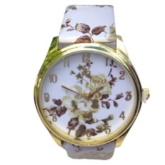 Casual Quartz Watch Women Dress Wristwatches Female Casual Plastic Flower Print Quartz Watch Women Relogio Feminino Coffee Flower (Intl)