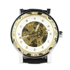 Casual Unisex Automatic Mechanical Wrist Watch Skeleton Pu Casual Yellow (Intl)