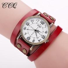 CCQ Brand Vintage Cow Leather Bracelet WristWatch Luxury Casual Women Quartz Watch Relogio Feminino 1347(Red)