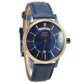 Cerruti Jam Tangan Pria Biru Ring Rosegold Leather Strap CRA128SBLR03BL