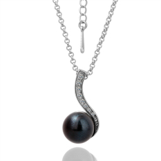 Charming Elegant Black Pearl Pendant Rhinestone Crystal Man-Made Pearl Party Wedding Chain Jewelry Necklace (Platinum Color)
