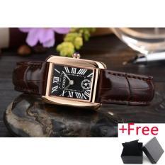 CHENXI Girl 4-color Leather Strap Quartz Watch Jam Tangan Women Roman Square Dial Elegant