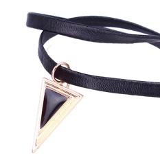 Choker Necklace Charm Retro Necklace Leather Pendant Bib Chain Statement Necklace (Intl)