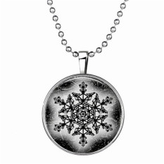 Christmas Xmas Snowflake Luminous Cabochon Glass Pendant Light In The Dark Necklace Jewelry Gift