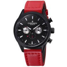 Chronox Speedracer CX2002 / C8 - Jam Tangan Pria - Tali Kulit Merah - Hitam (Red)