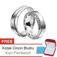 Cincin Tunangan Couple Perak Lapis Rhodium - Doff M.36 - Silver Exclusive