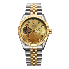 CITOLE Authentic Tevise Twiss Business Casual Trend Fashion Automatic Mechanical Men's Watches Waterproof Watch Men (Gold) (Intl)