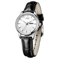 CITOLE BUREI Auto Date Women Watch Genuine Leather Strap Quartz Casual Wristwatch 30M Waterproof Fashion Lady Dress Watches Reloj Mujer (Black White Leather)
