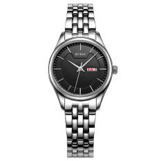 CITOLE BUREI Auto Date Women Watch Genuine Leather Strap Quartz Casual Wristwatch 30M Waterproof Fashion Lady Dress Watches Reloj Mujer (Silver Black Steel)