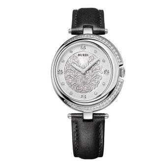 CITOLE BUREI Classic Women Watch Genuine Leather Strap Water Resistance Quartz Wristwatch Rhinestone Luxury Clock Feminino (Black Silver)