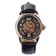 CJJABA Gk1018 Fashoin Classci Mens Leather Strap Skeleton Automatic Mechanical Wristwatch (BlackGold)