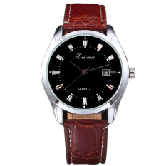 Classic Mens Casual Quartz Electronic Stainless Steel Leather Wrist Watch Wxf (Intl)