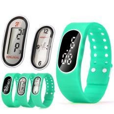 Coconie 3IN1 Mens Womens Rubber LED LCD Quartz Watch Date Sports Bracelet Wrist Watch Mint Green Free Shipping