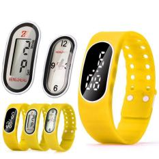Coconie 3IN1 Mens Womens Rubber LED LCD Quartz Watch Date Sports Bracelet Wrist Watch Yellow Free Shipping