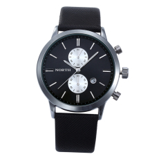 Coconie Fashion Men Casual Waterproof Date Leather Military Japan Watch Gift Black Free Shipping
