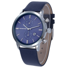 Coconie Fashion Men Casual Waterproof Date Leather Military Japan Watch Gift Blue Free Shipping
