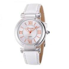 Coconie Geneva Women Girl Roman Numerals Leather Band Quartz Wrist Watch Bracelet White