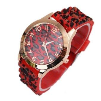 Coconie Unisex Geneva Leopard Silicone Jelly Gel Quartz Analog Wrist Watch Red Free Shipping
