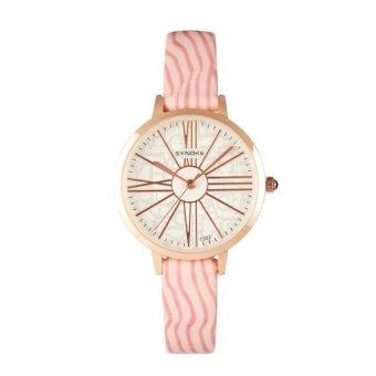 Coconie Women Leather Band Watch Stainless Steel Quartz Wrist Watch Pink