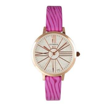 Coconie Women Leather Band Watch Stainless Steel Quartz Wrist Watch Purple