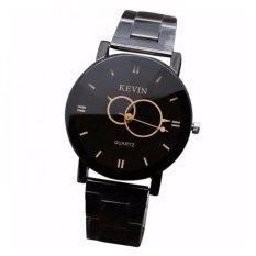 Coconiey Design Black Stainless Steel Band Round Dial Quartz Wrist Watch Women Gift Black Free Shipping