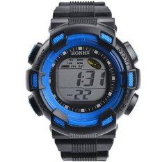 Coconiey Men Fashion LED Digital Alarm Date Rubber Army Watch Waterproof Sport Wristwatch Blue Free Shipping