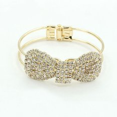 Cocotina Charming Fashion Womens Crystal Bowknot Cuff Jewelry Bangle Bracelet (Gold Color) (Intl)
