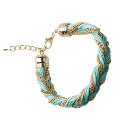 Cocotina Cool Punk Womens Braided Metal Chain Bangle Bracelet Fashion Jewellery – Blue (Intl)