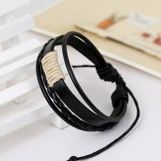 Cocotina Fashion Unisex Vintage Multilayer Faux Leather Wristband Cuff Bracelet - Black & White
