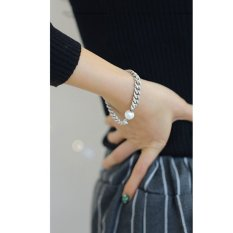 Cocotina Fashion Womens Faux Pearl Charm Jewellery Silver Tone Chain Bracelet (Intl)