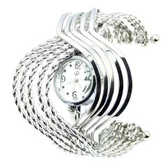 Cocotina Ladies Fashion Stainless Steel Wave Band Womens Bracelet Bangle Quartz Wrist Watch – Silver