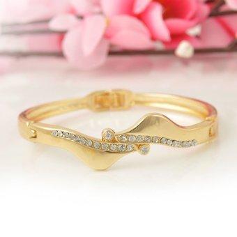 Cocotina Pesta Fashion Perhiasan Wanita Gelang Antisimetrik Kristal Berlian Imitasi Gold .