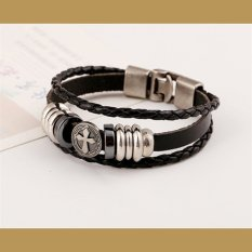 Cocotina Stylish Men Metal Cross Studded Surfer Braided Faux Leather Bracelet Wristband Cuff - Black