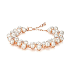 Cocotina Trendy Woman Faux Pearl Charm Gold Chain Bracelet Rhinestone Wedding Party Jewellery (Intl)