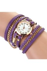 Cocotina Women Vintage Weave Wrap Rivet Purle Faux-Leather Band Wrist Watch