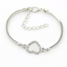 Cocotina Women's Fashion Crystal Rhinestone Hollow Out Love Heart Charm Silver Chain Bracelet Jewellery