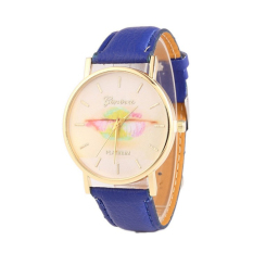 Colorful Women's Fashion Lips Print Design Dial Leather Band Analog Quartz Wrist Watch (Blue)