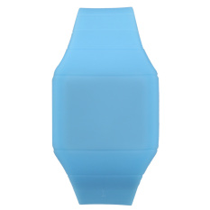 Compact Touch Screen Digital LED Wrist Watch Unisex Silicone Light Blue