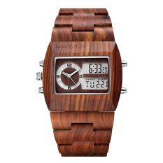 coobonf JIANGYUYAN Luxury Natural Sandalwood Wood Watches Men Digital Chronograph LED Dual Time Zone Clock masculino (red sandalwood) - intl