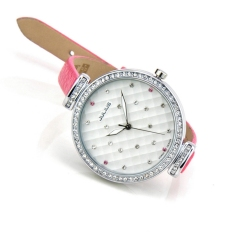 Coobonf New Lovely Women Dress Rhinestone Watches Fashion Casual Quartz Watch Girls Wristwatches Genuine Leather Famous Julius 541 Clock